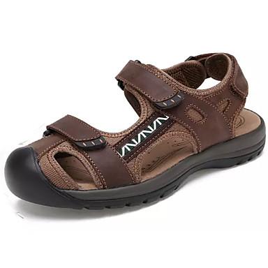 Men's Shoes Cowhide Summer Light Soles Comfort Sandals Walking Shoes Hook & Loop for Outdoor Dark Brown Light Brown Khaki