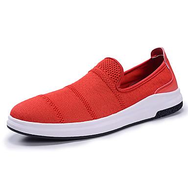 Miesten kengät PU Kevät Syksy Comfort Mokkasiinit varten ulko- Musta Harmaa Punainen