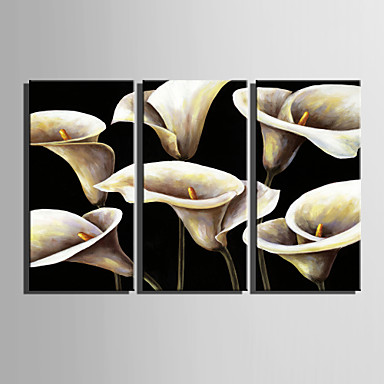 Oil Painting Hand Painted - Floral / Botanical Retro Canvas Three Panels