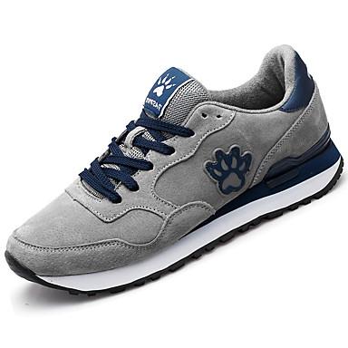 Homens sapatos Couro Ecológico Camurça Primavera Outono Conforto Tênis para Casual Cinzento Azul Azul marinho
