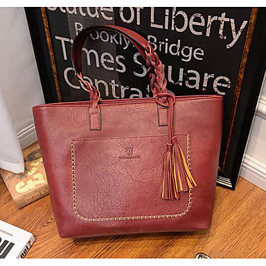 Women Tote PU All Seasons Casual Outdoor Round Zipper Black Red Brown
