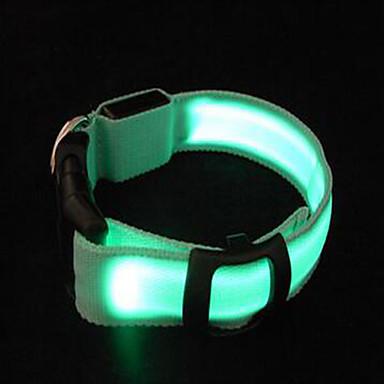Roedores Cachorro Colarinho Luzes LED Portátil Ajustável Sólido Náilon Amarelo Verde Azul Claro