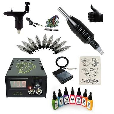 Tattoo Machine Starter Kit - 1 pcs Tattoo Machines with 7 x 15 ml tattoo inks LCD power supply 1 rotary machine liner & shader