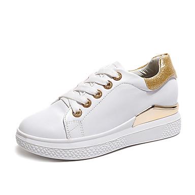 Naiset Kengät PU Syksy Comfort muodollinen Kengät Tasapohjakengät Kävely Kiilakantapää Pyöreä kärkinen Solmittavat varten Kausaliteetti