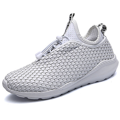 Men's Athletic Shoes Comfort Summer Fall Fabric Walking Shoes Casual Lace-up Flat Heel White Black Black/White Flat