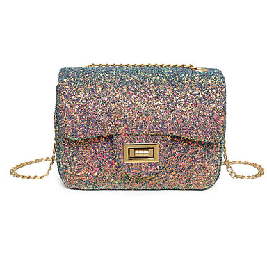 Women Bags All Seasons Poly urethane Shoulder Bag Sequined for Casual Rainbow