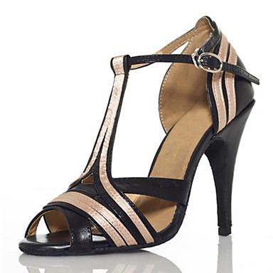 Naiset Latinalainen Silkki Sandaalit Lenkkarit Ammattilainen Solki Stilettikorko Musta 8,5 cm Mahdollisuus räätälöidä