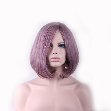 Synthetic Wig Straight / Natural Wave Pink Asymmetrical Haircut Synthetic Hair Natural Hairline Pink Wig Women's Mid Length Capless
