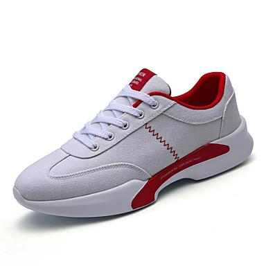 Homens sapatos Couro Ecológico Primavera Outono Solados com Luzes Conforto Tênis Cadarço para Casual Ao ar livre Branco Branco/Preto