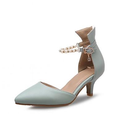 Mulheres Sapatos Couro Ecológico Primavera / Verão Conforto / Inovador / D'Orsay Saltos Caminhada Salto Agulha Dedo Apontado Presilha
