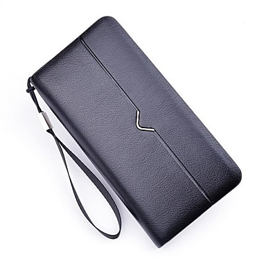 Men Bags PU Polyester Checkbook Wallet for Office / Career Event/Party Formal All Seasons Black Coffee Dark Coffee