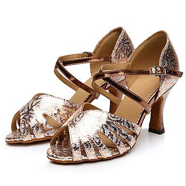 Női Latin cipők Szintetikus Magassarkúk Minta / Virág Kubai sarok Személyre szabható Dance Shoes Arany / Bőr / Professzionális