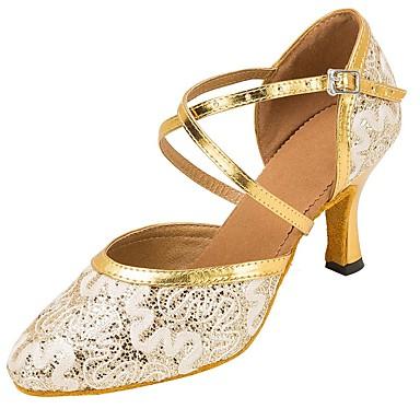 Mulheres Sapatos de Dança Moderna Renda / Paetês Sandália / Salto Lantejoulas / Presilha / Renda Salto Personalizado Personalizável Sapatos de Dança Dourado / Branco / Profissional
