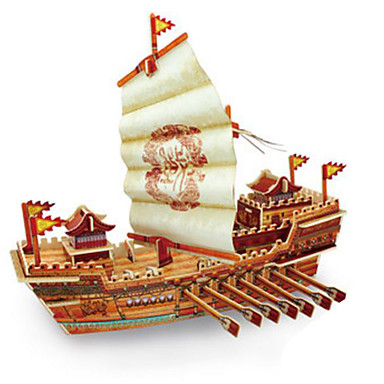 Robotime 3D Puzzles Jigsaw Puzzle Wood Model Model Building Kit Warship Ship 3D DIY Wood Classic 6 Years Old and Above