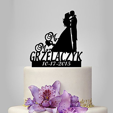 Cake Topper Classic Theme / Romance / Wedding Classic Couple Plastic Wedding / Anniversary with 1 pcs Poly Bag