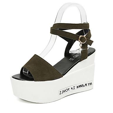 Mulheres Sapatos Couro Ecológico Primavera Verão Sapatos clube Fashion Retro Sandálias Salto Plataforma Dedo Aberto Presilha para Festa