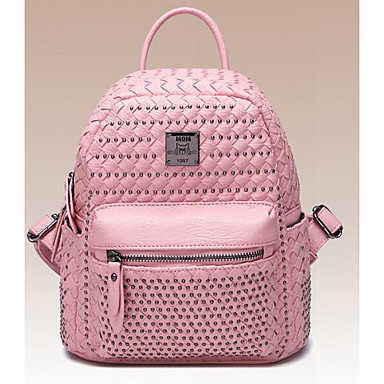 Women Bags All Seasons PU Backpack for Casual Silver Blushing Pink