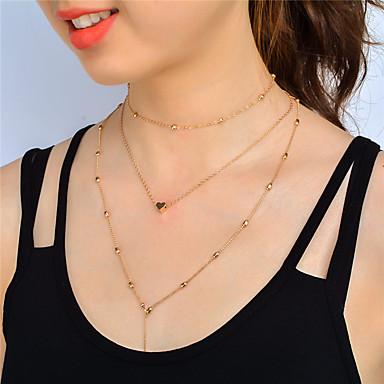 Mulheres Conjunto de jóias - Coração Personalizada, Pingente, Fashion Incluir Gargantilhas Colares com Pendentes Dourado / Prata Para Baile Militar Trabalho
