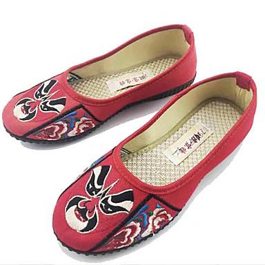 Naisten Kengät Kangas Kevät Syksy Comfort Tasapohjakengät Tasapohja Pyöreä kärkinen Kukkakuvio varten Kausaliteetti Puku Musta Punainen