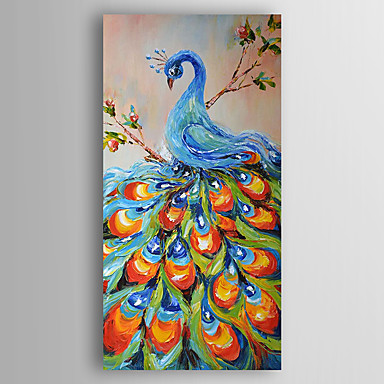 Hand-Painted  Impression Peakcock  Oil Painting With Stretcher For Home Decoration Ready to Hang