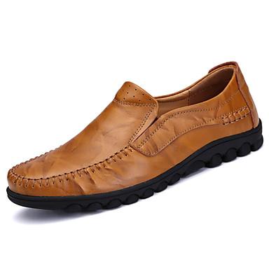 Homens sapatos Couro Ecológico Primavera Outono Conforto Mocassins e Slip-Ons para Ao ar livre Preto Castanho Claro Castanho Escuro