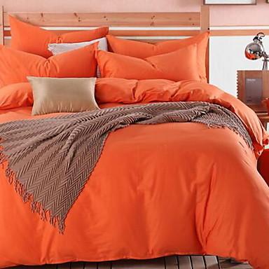 Solid Color 4 Piece Cotton Cotton 1pc Duvet Cover 2pcs Shams 1pc Flat Sheet