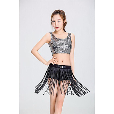 Jazz Outfits Women's Performance Polyester Tassel 2 Pieces Sleeveless High Vest Shorts