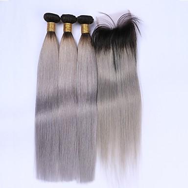 Brasilianisches Haar Glatt Menschliches Haar Webarten 4 Stück Haar-Einschlagfaden mit Verschluss