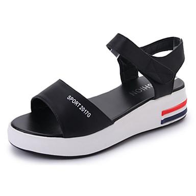 Damen Schuhe PU Sommer Komfort Sandalen Walking Flacher Absatz Offene Spitze Klettverschluss Weiß / Schwarz