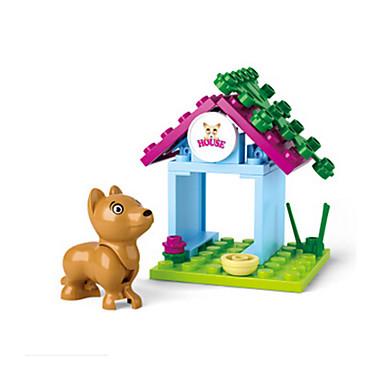 baratos Brinquedos de Montar-Blocos de Construir Bonecos em Blocos de Montar Brinquedos de Faz de Conta Cachorros Castelo Casa Animais Para Meninas Brinquedos Dom