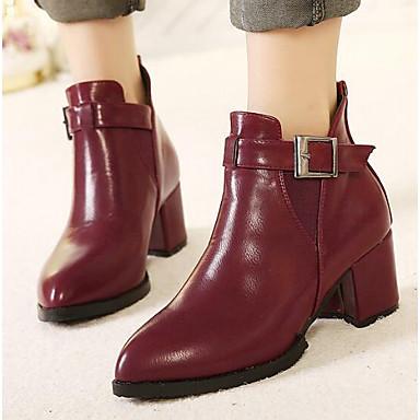 Damen Schuhe Echtes Leder PU Winter Komfort Modische Stiefel Stiefel Für Normal Schwarz Rot