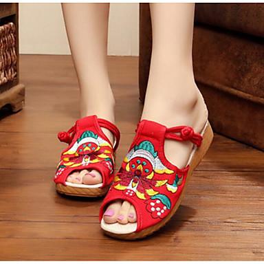 Damen Schuhe Stoff Sommer Komfort Sandalen Für Normal Schwarz Rot Blau