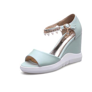Damen Schuhe PU Sommer Pumps Sandalen Peep Toe Kette Quaste Für Normal Kleid Party & Festivität Weiß Blau Rosa