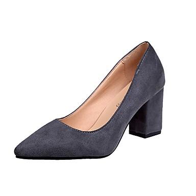 Női Cipő PU Nyár Kényelmes Magassarkúak blokk Heel Erősített lábujj mert Ruha Fekete Szürke