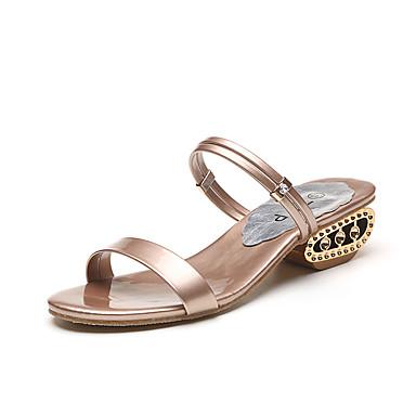 Damen Schuhe PU Frühling Sommer Komfort Leuchtende Sohlen Sandalen Niedriger Absatz Offene Spitze Strass Für Kleid Gold Schwarz Silber