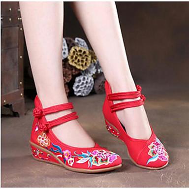 Damen Schuhe Stoff Sommer Komfort High Heels Für Normal Schwarz Rot Blau