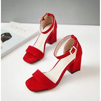 Damen Schuhe PU Frühling Sommer Komfort Sandalen Für Normal Schwarz Beige Rot