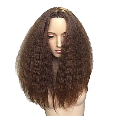 Synthetic Wig Afro Synthetic Hair African American Wig Brown Wig Long Capless Brown