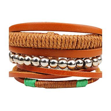 voordelige Herensieraden-Heren Dames Kralenarmband Wikkelarmbanden Lederen armbanden geweven Twist Circle Gepersonaliseerde Puinen Armband sieraden Bruin Voor Dagelijks Causaal Toneel Straat Club / Hout