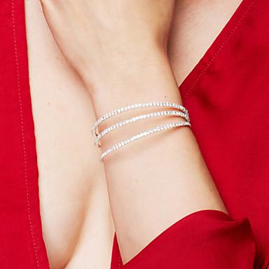 Dame Syntetisk Diamant Lag-på-lag Armringer / Tennis Armbånd - Krystall, Zirkonium, Strass Elegant, Brude, Multi Layer Armbånd Sølv Til Julegaver / Bryllup / Fest