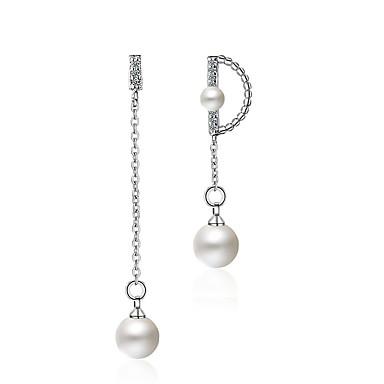 Női Luxus / Bohém Szintetikus gyémánt / Gyöngy Gyöngy / Strassz Függők - Személyre szabott / Luxus / Bohém Fehér Geometric Shape Fülbevaló