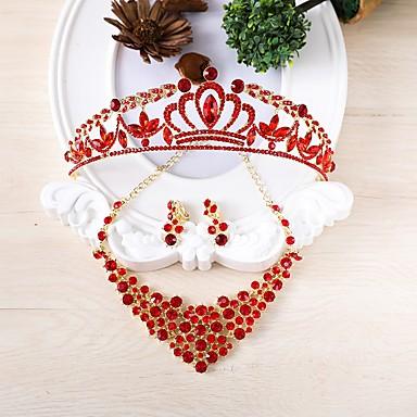 Női Strassz Ékszer szett Nyaklánc, Elöl is és hátul is stílusos fülbevalók - Piros / Esküvő