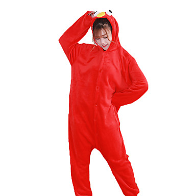 Adults' Kigurumi Pajamas Cartoon / Cookie Anime Onesie Pajamas Costume Flannel Fabric Red / Blue Cosplay For Animal Sleepwear Cartoon Halloween Festival / Holiday / Christmas