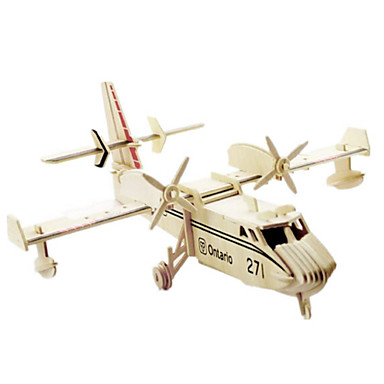 3D Puzzle Jigsaw Puzzle Fighter Aircraft DIY Natural Wood Kid's Unisex Gift