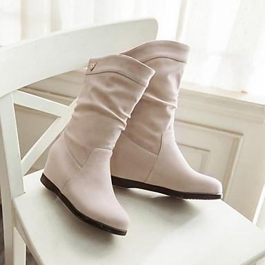 Damen Schuhe Nubukleder PU Winter Herbst Komfort Stiefel für Normal Schwarz Beige