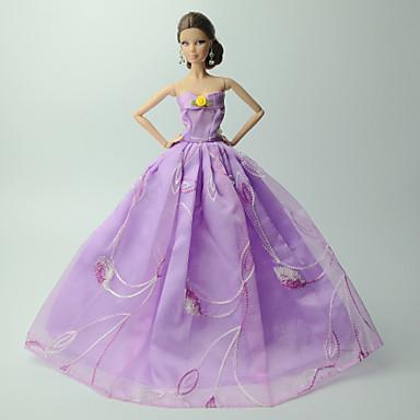 Dresses Dress For Barbie Doll Linen/Cotton Blend Satin/ Tulle Dress For Girl's Doll Toy