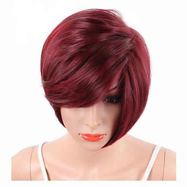 Szintetikus parókák Hullámos / Természetes hullám / Természetes egyenes Szintetikus haj Piros Paróka Rövid Sapka nélküli Görögdinnye Piros