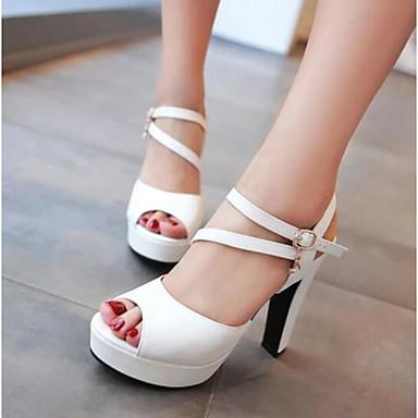 Damen Schuhe PU Sommer Komfort Sandalen Für Normal Weiß Schwarz Blau