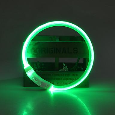 Kutya Gallérok LED fények Állítható / Behúzható Újratölthető Biztonság Egyszínű TPU Sárga Piros Zöld Kék Rózsaszín