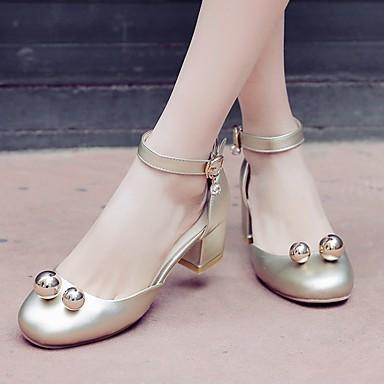 Damen Schuhe PU Sommer Komfort Sandalen Niedriger Absatz Runde Zehe Für Normal Gold Silber